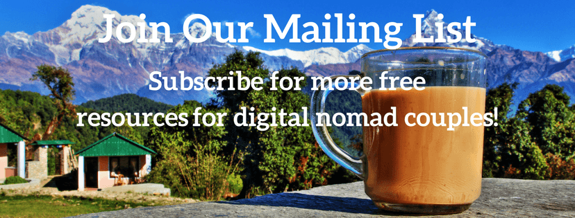 Join Our Digital Nomad Couple Mailing List