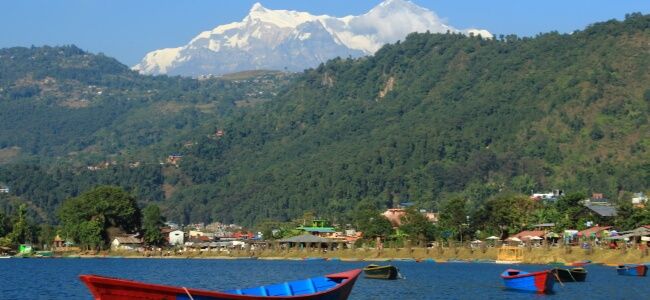Phewa Tal, Pokhara, Nepal with the Annapurna Mountain Range in the Background