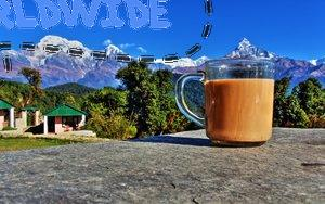 Nepalese Tea in Pokhara, Nepal Looking at the Annapurna Mountain Range