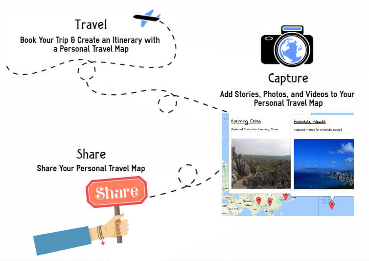 Create a travel map Travel Capture Share To the Nations Worldwide